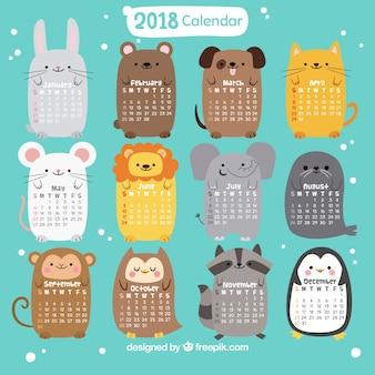 2018 kalendarz z miłymi zwierzętami