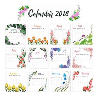 2018 kalendarza kwiatowy wzór