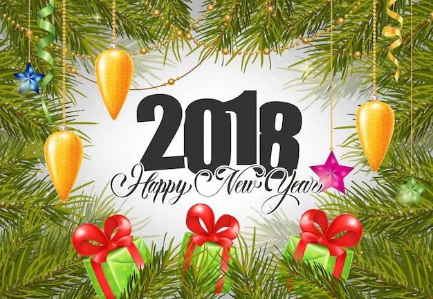 2018 nowy rok napis z prezentami