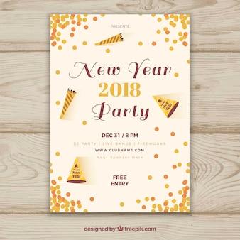 2018 nowy rok plakat partyjny z konfetti