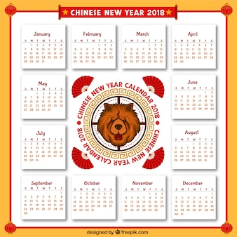 2018 ręcznie rysowane chiński nowy rok kalendarzowy