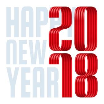 2018 szczęśliwego nowego roku czerwoną wstążką na białym tle