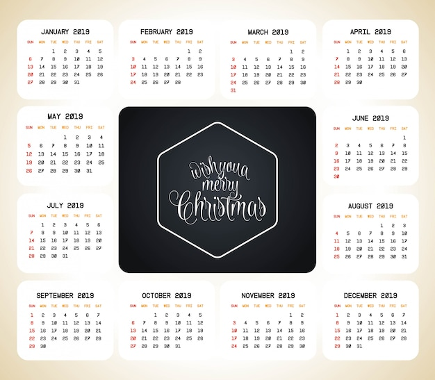2019 boże narodzenie kalendarz projekt wektor