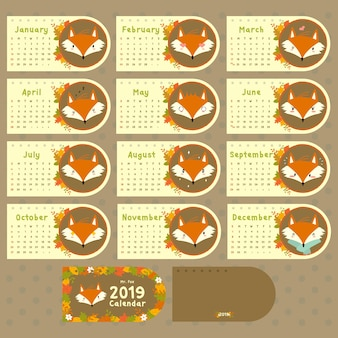 2019 calendar autumn fox