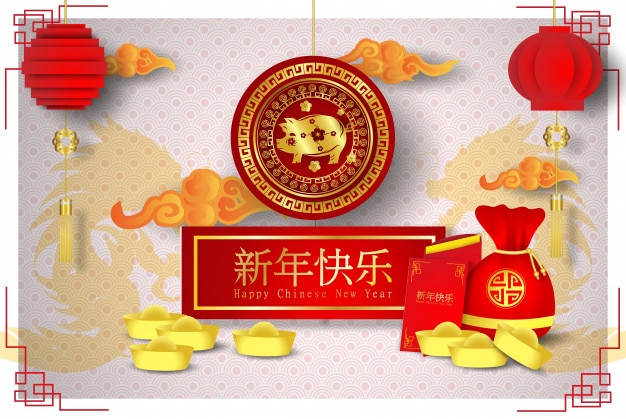 2019 happy chinese new year of the pig characters oznacza