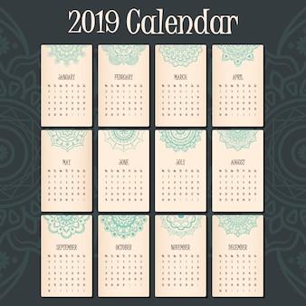 2019 kalendarz z pięknym nagłówkiem mandali na każdy miesiąc
