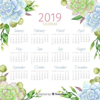 2019 kalendarza akwarela kwiatowy