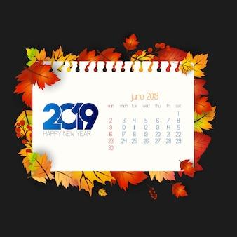 2019 kalendarza projekt z ciemnym tłem
