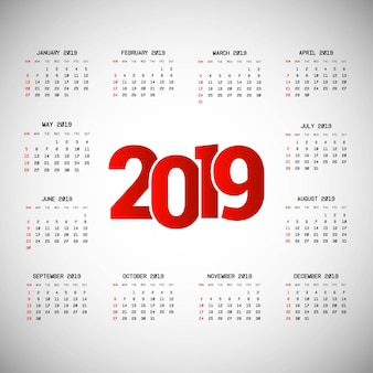 2019 kalendarza projekt z lekkim tło wektorem