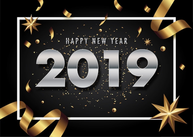 2019 kartkę z życzeniami szczęśliwego nowego roku wektor