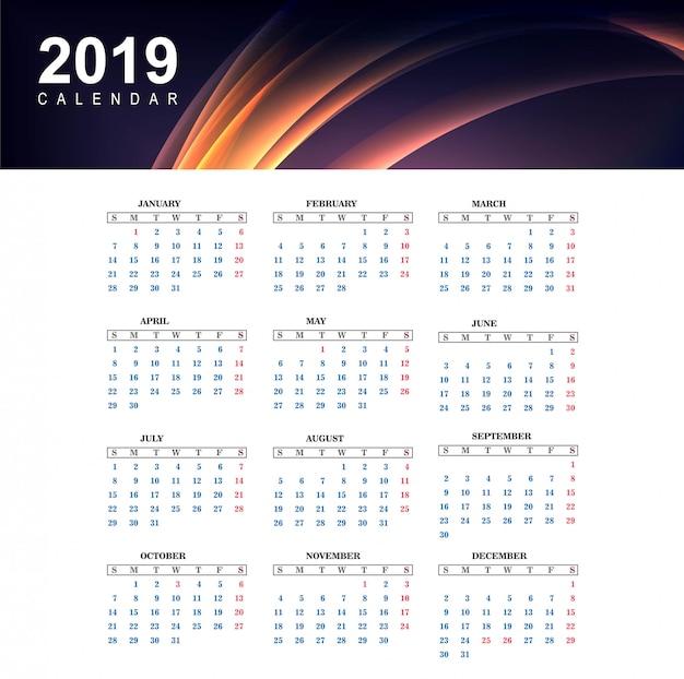 2019 kolorowy kalendarz z fali szablon wektor