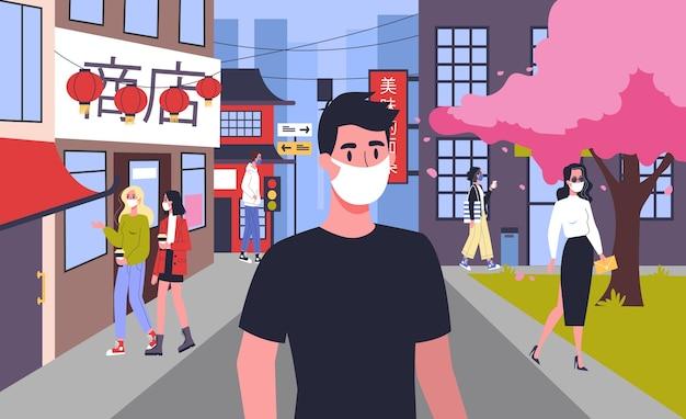2019-ncov. alert koronowirusa. niebezpieczna epidemia wirusa. chińskie zapalenie płuc. ludzie z maską w mieście. odosobniony