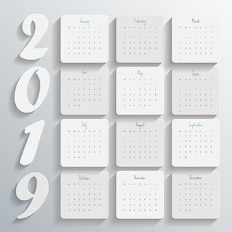 2019 nowoczesny szablon kalendarza. wektor / ilustracja.