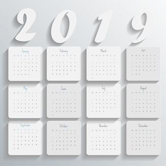 2019 nowoczesny szablon kalendarza
