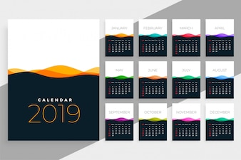 2019 szablon kalendarza z kolorowe fale