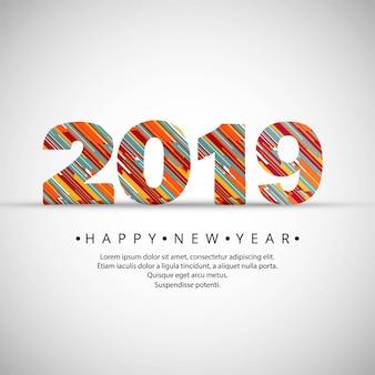 2019 Szczęśliwego nowego roku teksta tła wektor