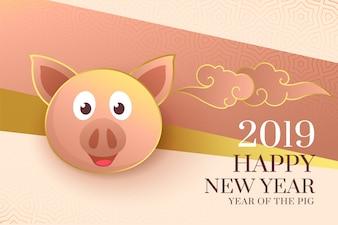 2019 Szczęśliwych Chińskich nowy rok świniowaty elegancki tło