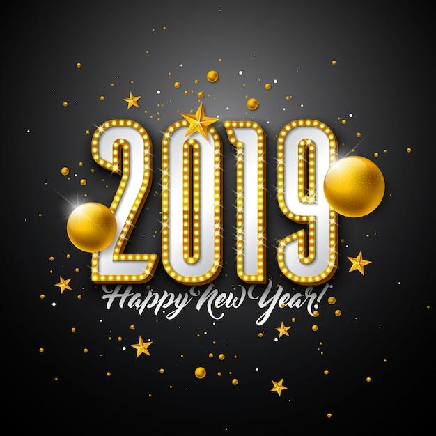 2019 szczęśliwego nowego roku projektu