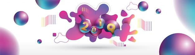 2019 szczęśliwego nowego roku z płynnymi dynamicznymi płynnymi sferami