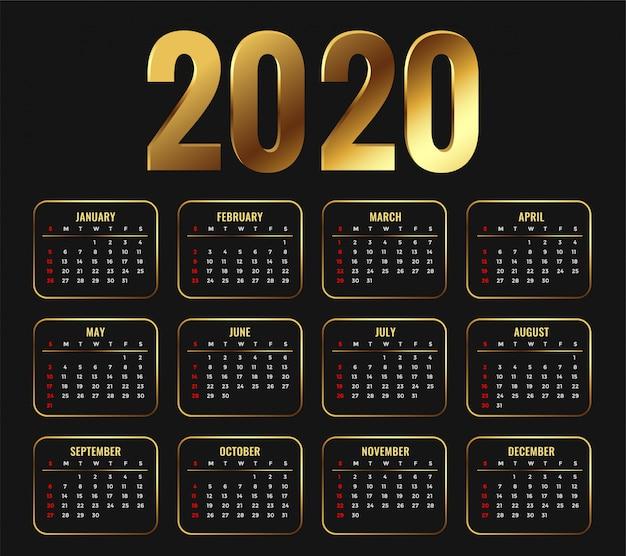 2020 atrakcyjny złoty szablon kalendarza