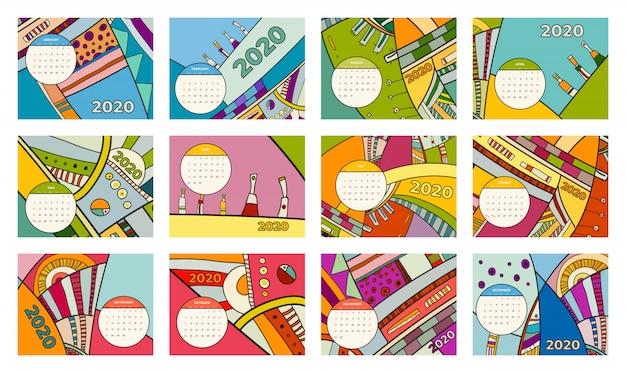 2020 kalendarz streszczenie współczesnej sztuki wektor zestaw. biurko, ekran, stacjonarne miesiące 2020, kolorowy szablon kalendarza 2020