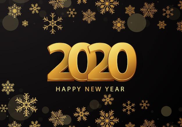 2020 kartkę z życzeniami noworocznymi ozdobione złotymi płatkami śniegu