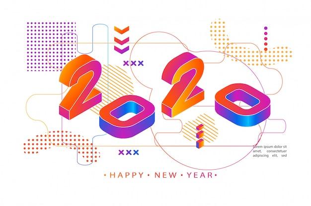 2020 kolorowy styl memphis. nowoczesny baner z numerami 2020. nowy rok .