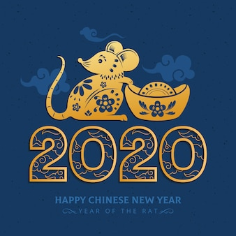 2020 luksusowy złoty chiński nowy rok szczura