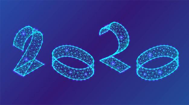2020 neon świecące liczby 3d izometryczny
