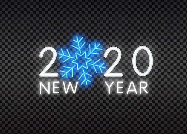 2020 neon szczęśliwego nowego roku tekst