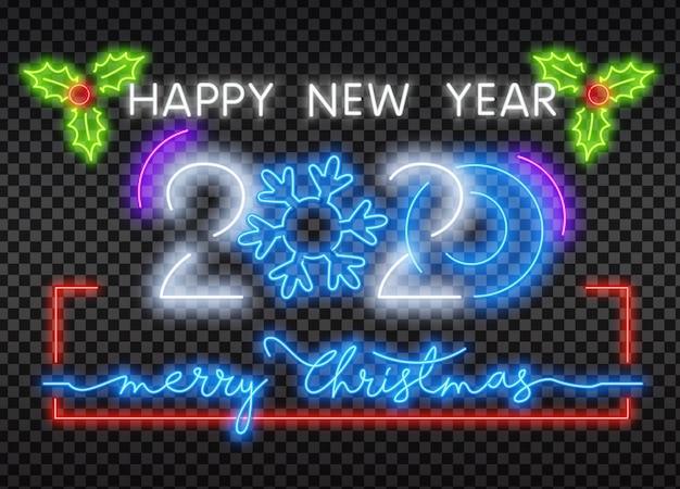 2020 neon znak szczęśliwego nowego roku neon tekst
