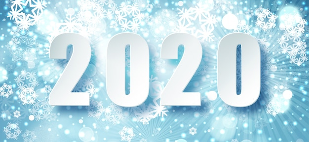 2020 niebieska świąteczna typografia. sezon zimowy tło z padający śnieg. szablon plakatu boże narodzenie i nowy rok. życzenia świąteczne. .