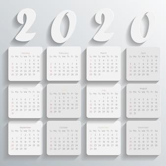 2020 nowoczesny szablon kalendarza