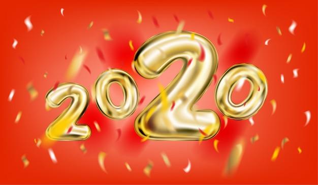 2020 nowy rok plakat na czerwono
