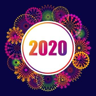 2020 nowy rok, świąteczne tło z fajerwerkami.