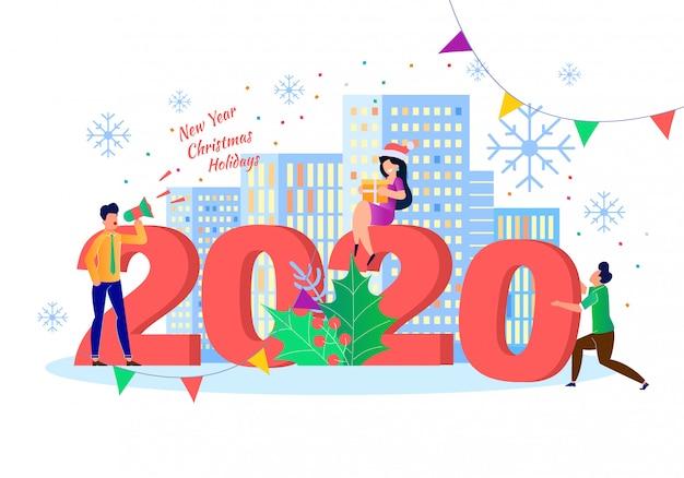 2020 nowy rok. świętuje wakacje zimowe płaskie ilustracji wektorowych