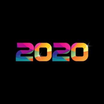 2020 numer nowy rok kolorowa tęcza kolor
