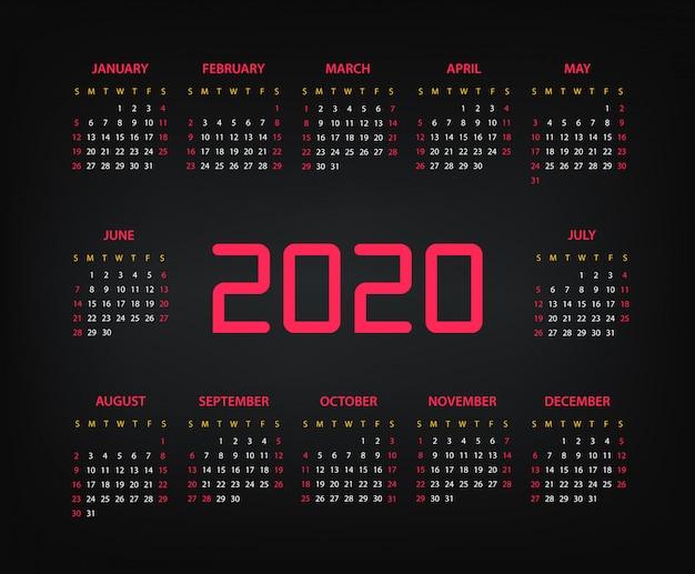 2020 rok szablon wektor kalendarza