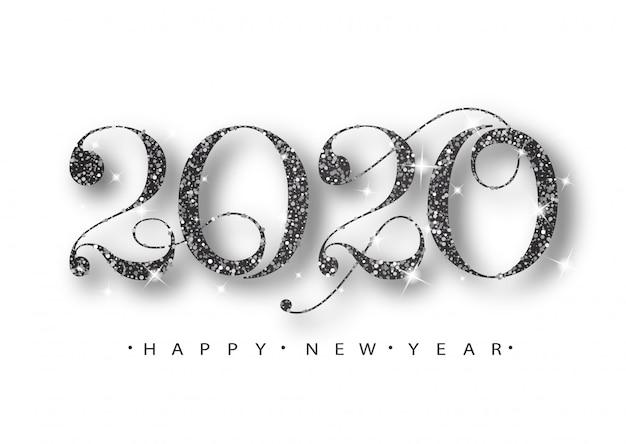 2020 szczęśliwego nowego roku. czarne liczby kart okolicznościowych. czarny wzór świeci. szczęśliwego nowego roku transparent z numerami 2020.