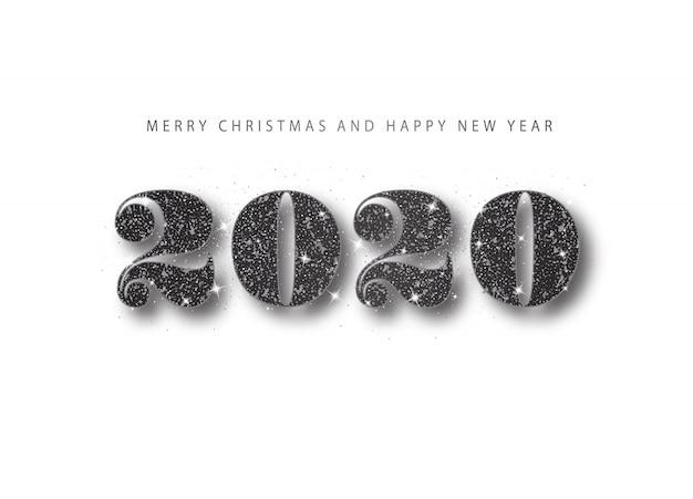 2020 szczęśliwego nowego roku. czarny numer brokatu. baner powitalny wakacje w minimalistycznym stylu