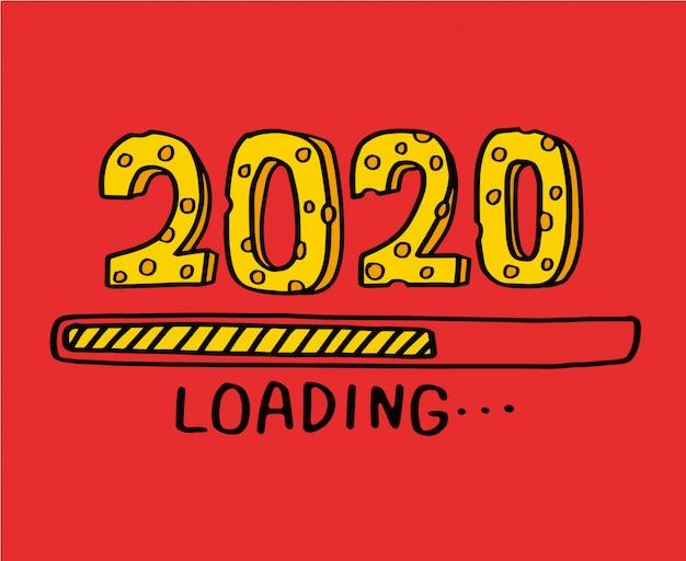 2020 szczęśliwego nowego roku dla ulotek sezonowych i kartki z życzeniami. 2020
