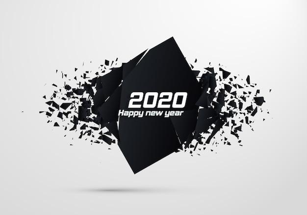2020 szczęśliwego nowego roku. geometryczne banery