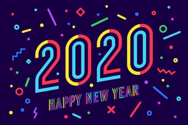 2020, szczęśliwego nowego roku. kartkę z życzeniami szczęśliwego nowego roku