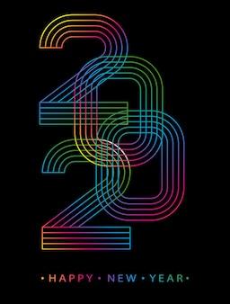 2020 szczęśliwego nowego roku. kartkę z życzeniami z minimalistycznym stylu liczby