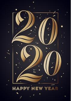 2020. szczęśliwego nowego roku kartkę z życzeniami z napisem