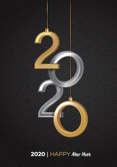 2020 szczęśliwego nowego roku logo 3d