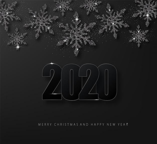 2020 szczęśliwego nowego roku luksusowe ciemne tło, które czarne płatki śniegu brokat.