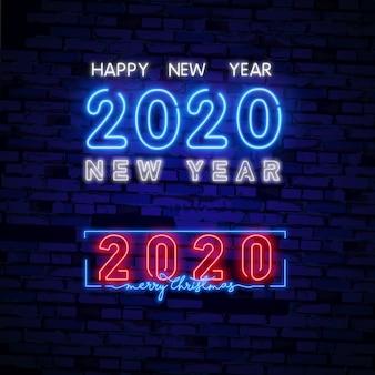 2020 szczęśliwego nowego roku neonowy znak