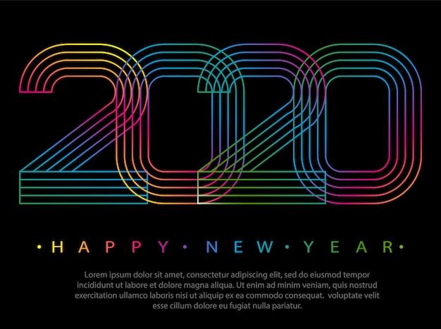 2020 szczęśliwego nowego roku. numery minimalistyczny styl. liczby liniowe. kartka z życzeniami.