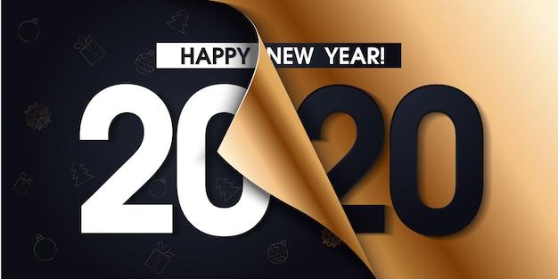 2020 szczęśliwego nowego roku promocji plakat lub baner